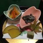 59501014 - お通し なまこ・白身魚のマリネ・さつまいも煮・凍み豆腐