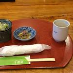 千喜庵~手打ち蕎麦~ - 蕎麦つゆと胡麻の和え物、塩