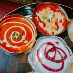 59530552 - バターエビカレー&チーズキーマカレー&デザート&ミニライス
