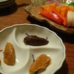 59538944 - 味噌三種とお野菜