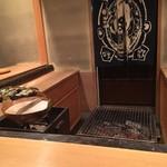 美山荘 - 朝食場所のカウンター