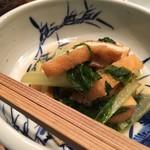 美山荘 - 杓子菜とお揚げの煮浸し