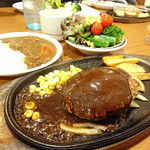 ステーキハンバーグ&サラダバー けん - 3種のチーズinハンバーグ