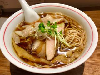 麺尊 RAGE - 軍鶏そば¥750 ツイッター告知のワンタン3個¥200