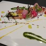 リストランテブレッツアディマーレ - 料理写真:三崎鮮魚のカルパッチョ シチリアのレモンドレッシングと3種類のソース