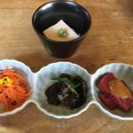 はせ川 - 前菜3種と胡麻豆腐