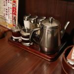 上野 太昌園 - テーブルサイドの「薬味」と「タレ」