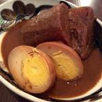 59572417 - 「味噌おでん(大根と玉子)」(各200円)。かなり赤味噌が染み込んでいて、大根はトロトロ。