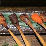 穂のか - 焼味噌五種おまかせ750円、くるみ、山椒、焼きウニ、明太子、酒盗