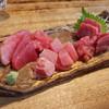 とりいち - 料理写真:津軽海峡の生本マグロ、塩釜の生メバチマグロ、生キハダマグロ