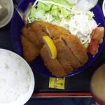 柳屋 - アジフライ&ハムカツ定食