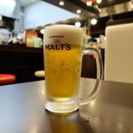 鶏白湯ラーメン 夏樹 - セットの生ビール