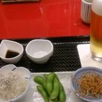 有喜屋 京都桂川店 - ビールセット(焼き鳥はまだ来てない)