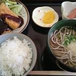 とだかうどん - 料理写真:ミニ定食(そば) おかずはヒレカツ!