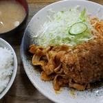 キッチン グラン - メンチカツ・しょうが焼き盛合せ(800円)