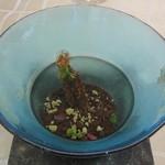 クイントカント - ⑩チョコレートのムースと柿・スパイスのブリュレ