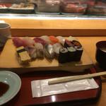 鮨政 - にぎり大盛(13貫+巻物3種に味噌汁付き)