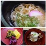 うちだ屋 - ◆ミニうどん・・麺は福岡仕様の柔らかめ。でも汁が意外に美味しくてビックリ。 ◆奴が付きます。