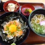 うちだ屋 - ◆「海鮮丼・ミニうどん付(880円:税込)」・・丼のご飯は少なくしていただいています。