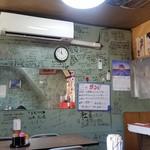 くるくる - 店内の様子、とにかく壁にはサインがいっぱい
