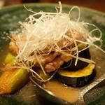 ぽつらぽつら - 北海道滝川産鴨肉といちじくの揚げ出し(1500円)