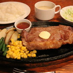 おきなわステーキ - ニューヨークステーキセット 1800円。