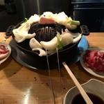 成吉思汗 だるま - ジンギスカン鍋に玉葱、ねぎたっぷり!