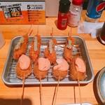 串くし本舗 - 串カツです。オススメは、鶏わさびです。(2016.11 byジプシーくん)