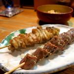 江戸路 - 皮と砂肝串