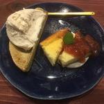 ピッコロット&グリーンハウスカフェ - チーズケーキのプレート