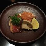 御料理 堀川 - 強肴:海老のおかき揚げ・鮑の遠山(治部煮)・ねぎの天ぷら