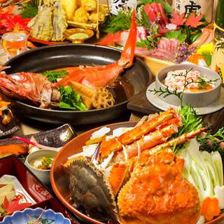 名物の蟹・海鮮食材が彩る創作和食!