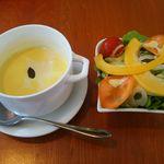 イエローパンプキンjr - スープ(雪化粧)&サラダ