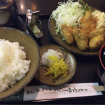 こかく庵 - 牡蠣フライ定食