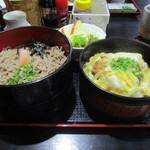 59758777 - 冷麺ぶっかけ そば二段 (カツ丼)サラダ付き