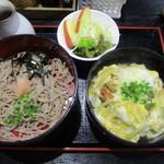 59758781 - 冷麺ぶっかけ そば二段 (カツ丼)サラダ付き