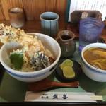 盛喜 - 天丼セット980円税込(ご飯少なめで注文)