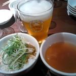59776580 - キリン一番搾り、手前がジャスミンライス、ふかひれスープ。