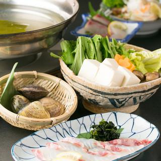 蛤・鯛しゃぶ鍋コース【大人気】