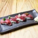 渋谷肉横丁 肉寿司 - 馬赤四種盛合せ