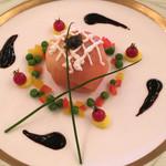 KKRホテル東京 - ホタテガイのムース スモークサーモン包みキャビア添え