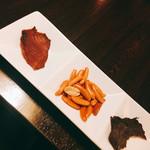 59784797 - ◆お通し                       燻製柿ピー                       燻製鮭とば                       ビーフジャーキー