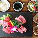 焼肉ダイニング GYUBEI - 特選和牛焼肉ランチ《サラダバー&ライス食べ放題付》 和牛の希少部位4種がお楽しみいただける贅沢なランチセットです。当日の仕入れ状況により部位は異なります。
