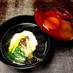 59796005 - 椀物;鱸、シメジ、ほうれん草、柚子、のお澄まし