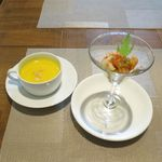 カフェ&デリ マチノキ - 料理写真:前菜とスープ(シェフランチセット1,296円)