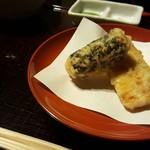 Kyoutogiontempurayasakaendou - 名物!明太子の磯部揚げとトウモロコシの天ぷら