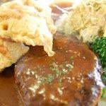 阿部食堂 - から揚げ・ハンバーグ定食 アップ