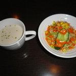 バンチャガル - ランチに付いてくるサラダ&スープ