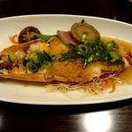 過門香 - 特大海老と京野菜の蒸し物