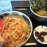 東西そば 葛西店 - 天丼セット¥680+春菊天¥150
